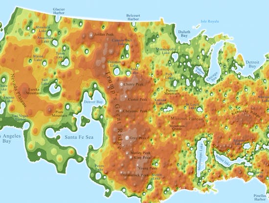 Detailed Map Remakes U.S. as TrumpLand and the Clinton Archipelago