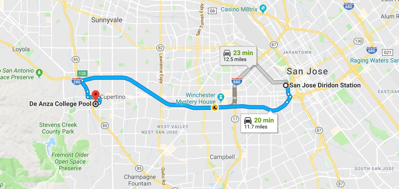 The proposed hyperloop route.