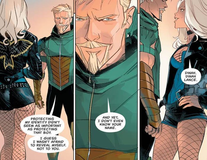 Scenes from Green Arrow Rebirth #1 with Green Arrow and Black Canary