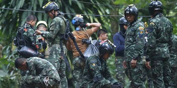 Thai rescue crew during preparations on Friday