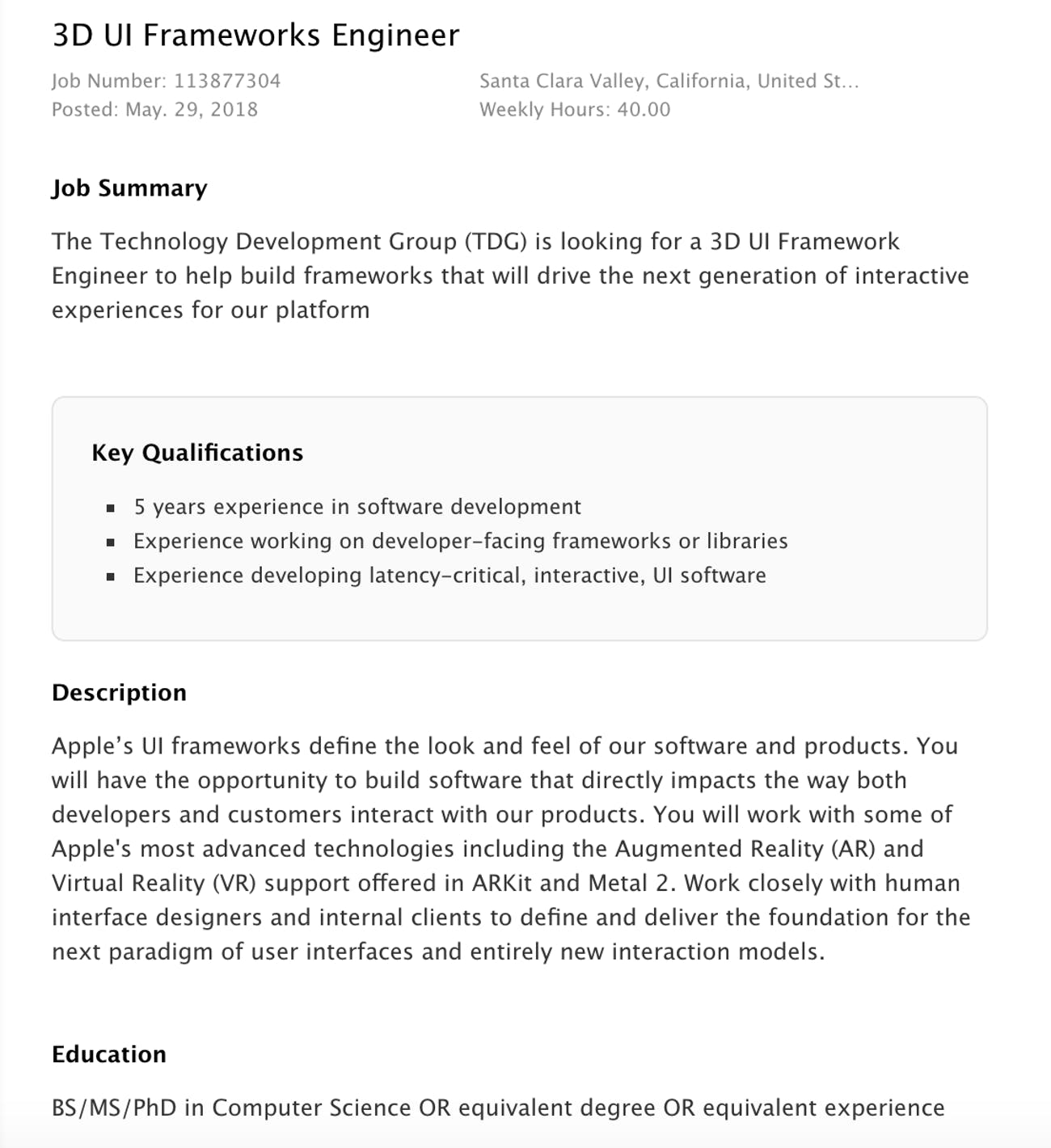 apple job listing ar vr engineer