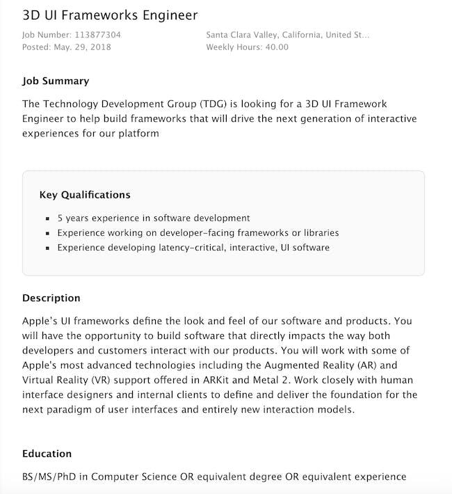 apple job listing ar vr engineer