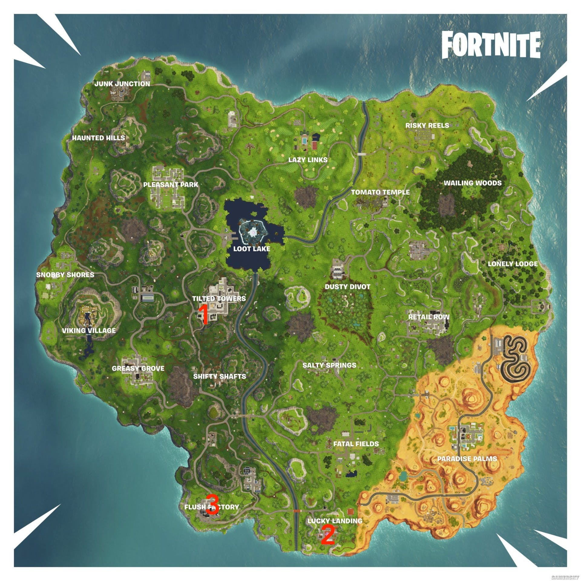 Fortnite Clock Tower Pink Tree And Porcelain Throne Locations And