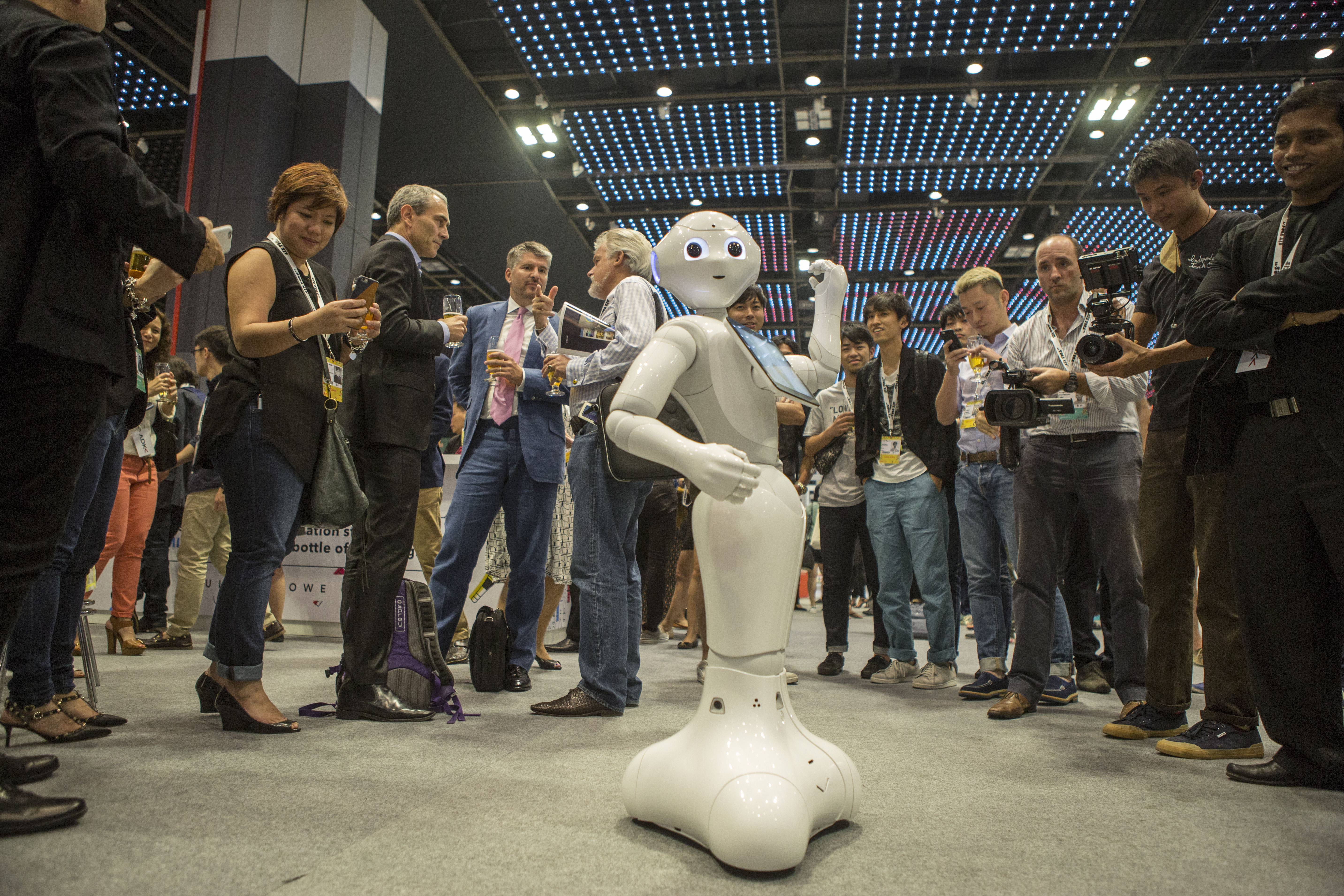 Pepper, pictured above, is a humanoid robot used in SoftBank stores in Japan to provide customer assistance.