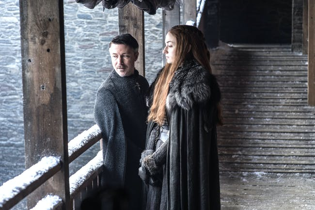 Sophie Turner and Aiden Gillen in 'Game of Thrones' Season 7