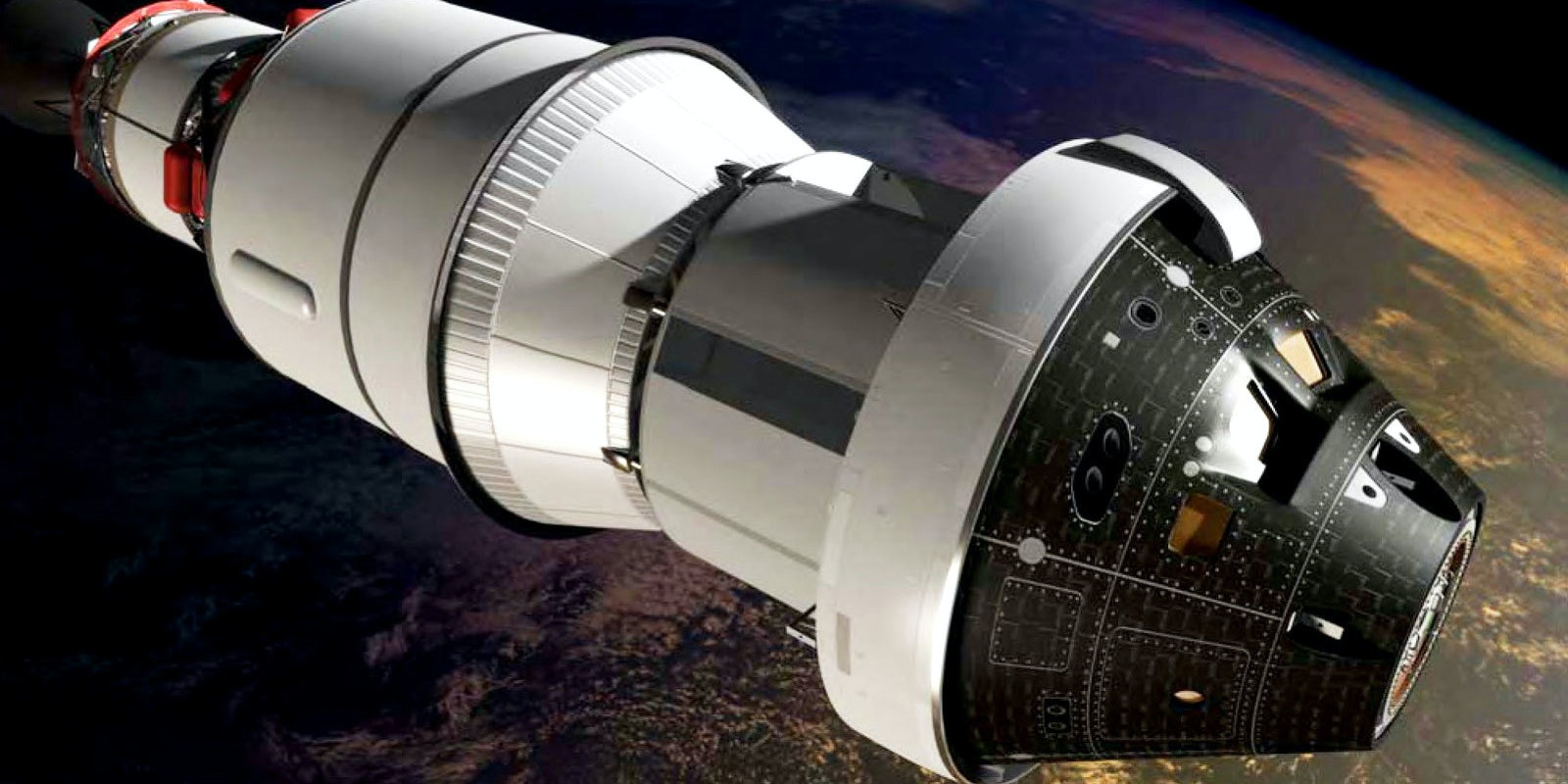 Conceptual art of the Orion capsule above Mars.