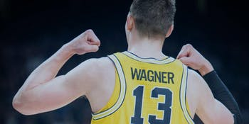 Moe Wagner appears in this publicity image by the University of Michigan ahead of its 2018 NCAA Tournament final against Villanova.