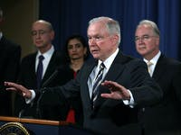 WASHINGTON, DC - JULY 13: U.S. Attorney General Jeff Sessions (3rd L) speaks as (L-R) Health and Human Service Department Inspector General Daniel Levinson, Center for Medicare and Medicaid Services Administrator Seema Verma, and Health and Human Services Secretary Tom Price listen during a news conference to announce significant law enforcement actions July 13, 2017 at the Justice Department in Washington, DC. Attorney General Jeff Sessions held the news conference to announce the 2017 health care fraud takedown. (Photo by Alex Wong/Getty Images)