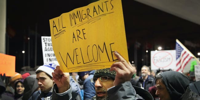 CHICAGO, IL - JANUARY 29:  Demonstrators protest President Donald Trump's executive order which imposes a freeze on admitting refugees into the United States and a ban on travel from seven Muslim-majority countries at the international terminal at O'Hare Airport on January 29, 2017 in Chicago, Illinois. Similar protests have been staged at airports nationwide over the past two days.  (Photo by Scott Olson/Getty Images)