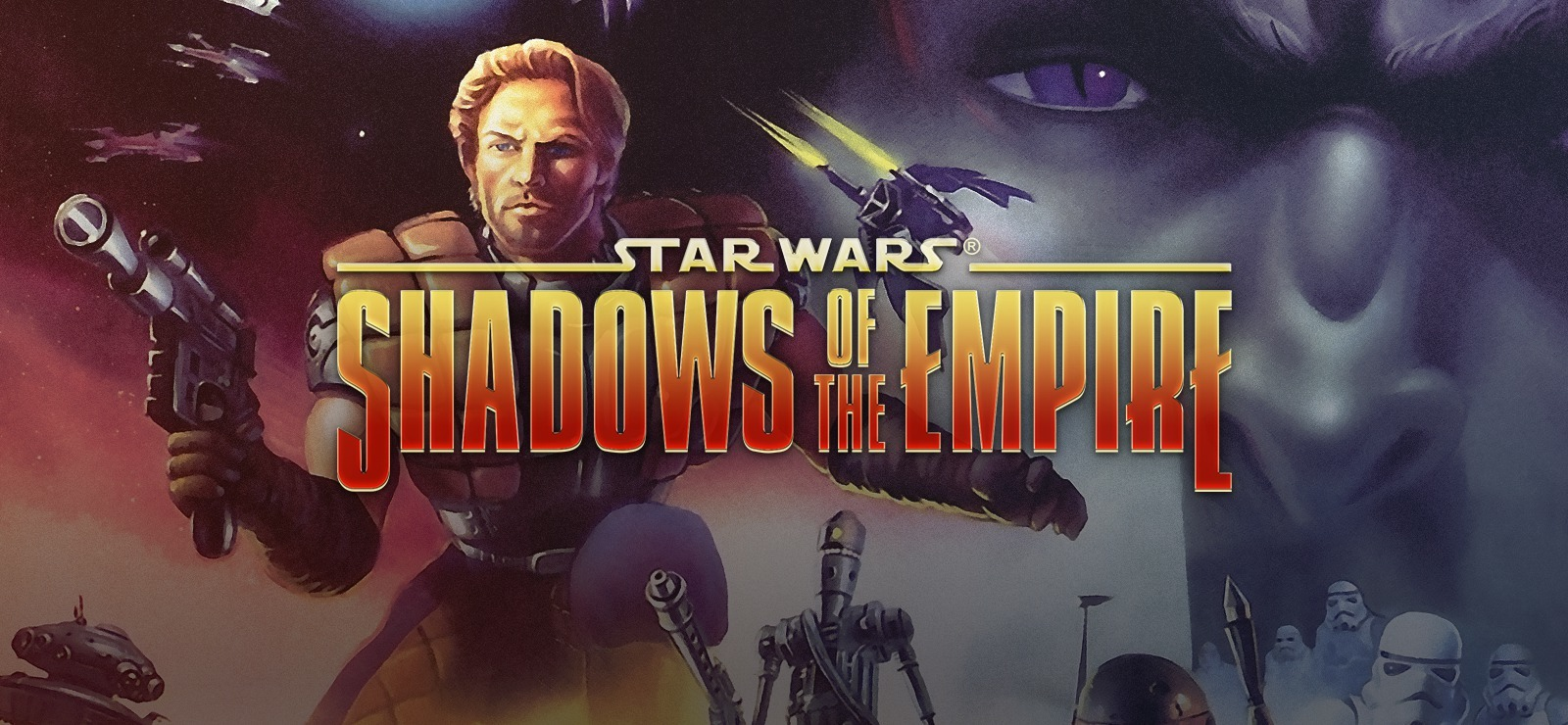 Dash Rendar wields his blaster as Prince Xizor looks on in box art for the N64 version of 'Shadows of the Empire.'