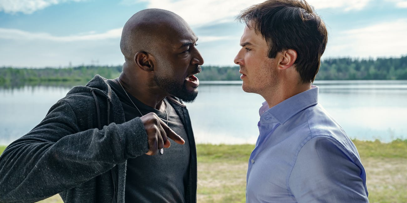 Adrian Holmes as Michael Fayne and Ian Somerhalder Dr. Luther Swann in Netflix's 'V Wars'.