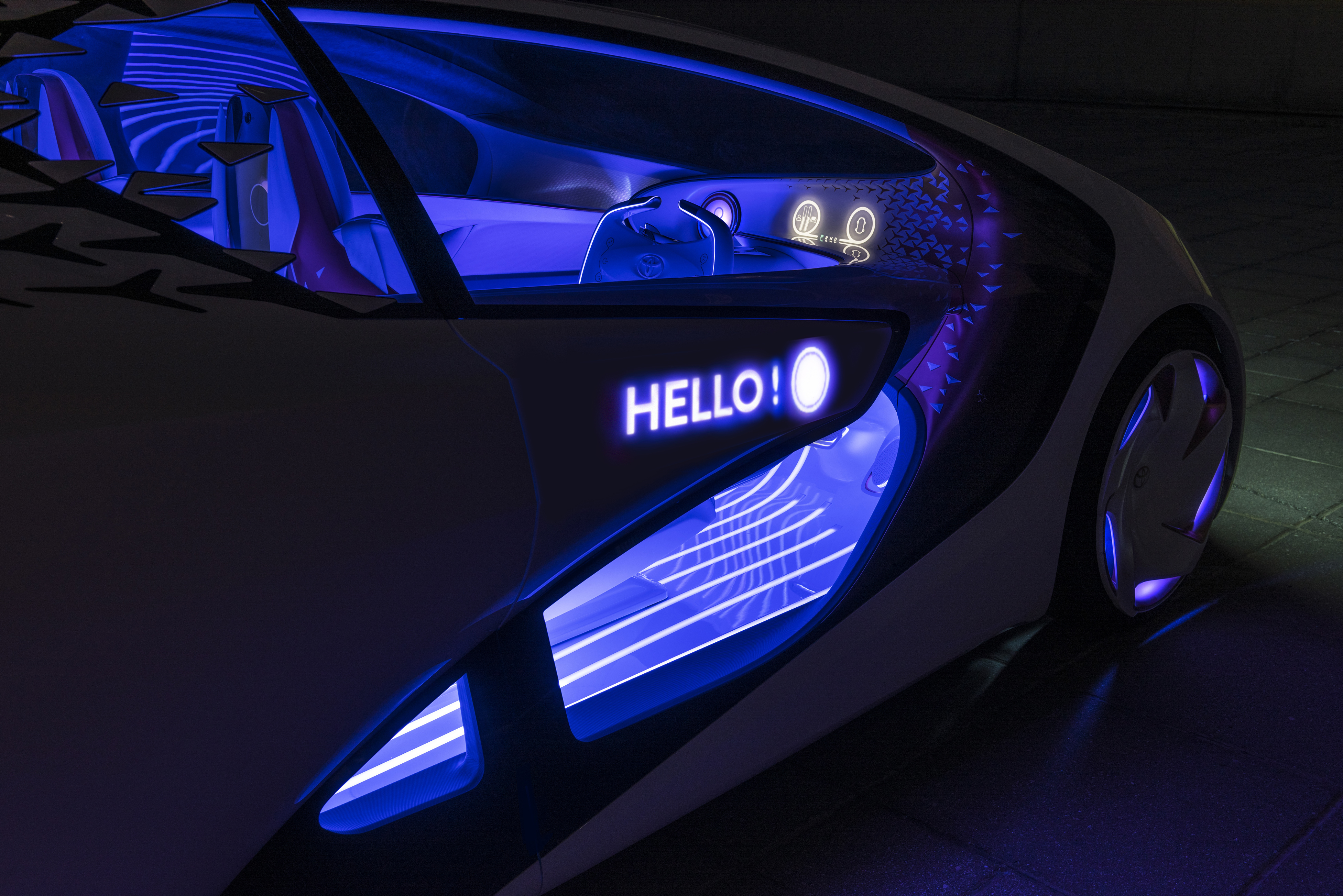 Toyota's Concept-i car will be able to communicate with the driver and with other drivers on the road.