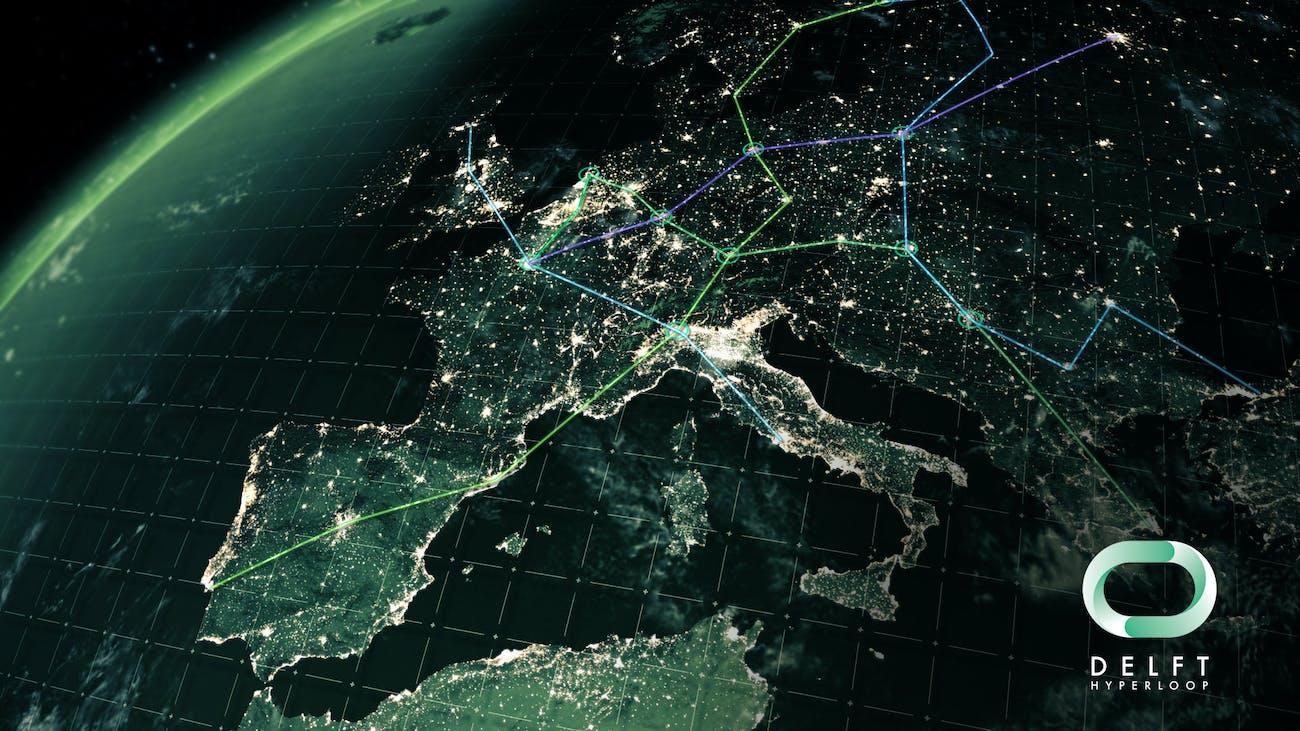 Delft's vision of a European hyperloop network.