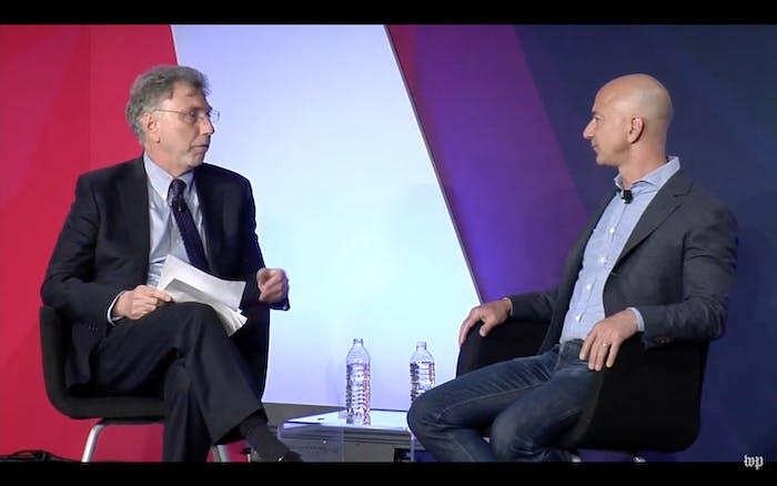 Martin Baron, executive editor of the Washington Post, interviewing Bezos.