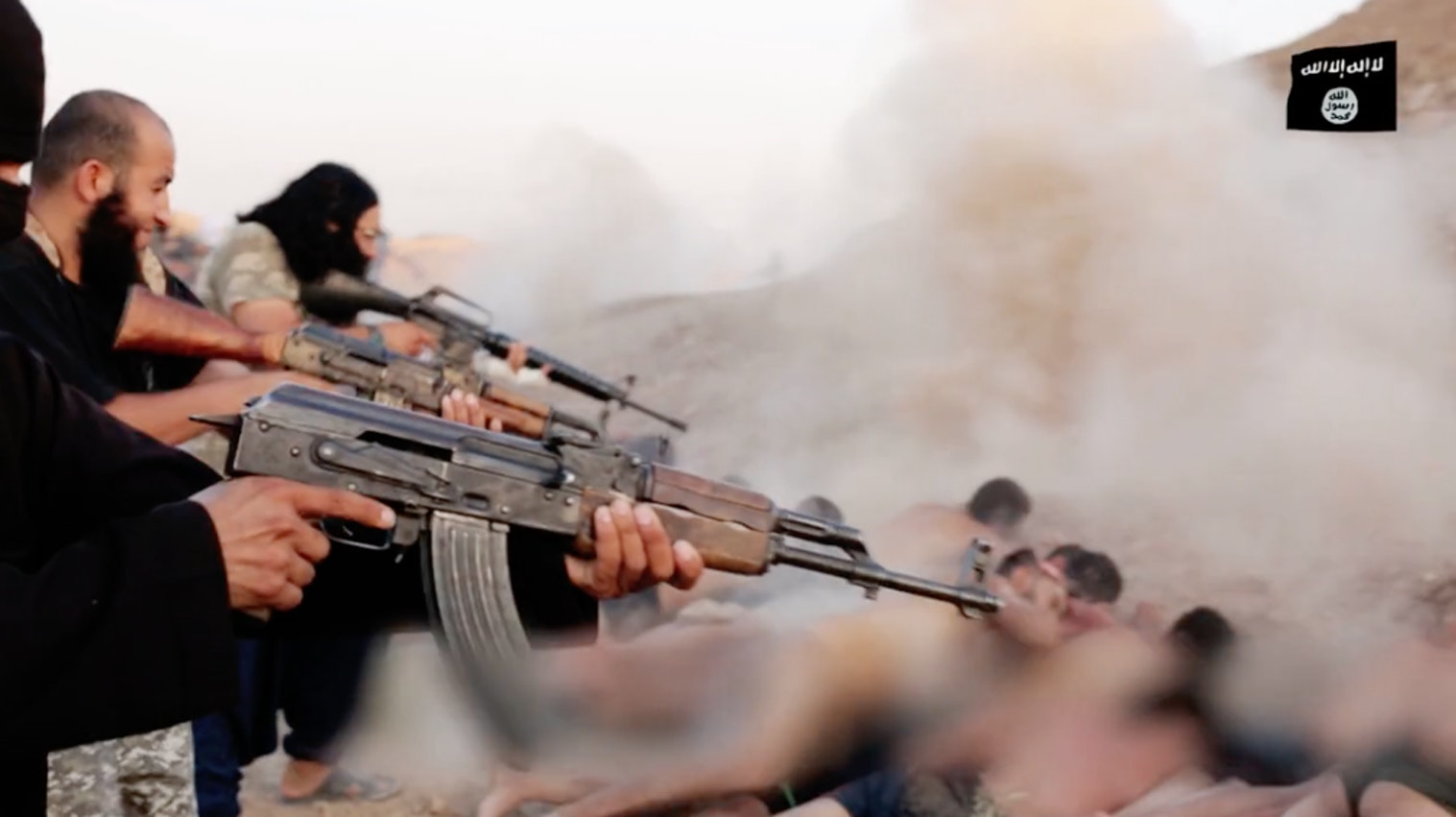 An image from an ISIS video showing the execution at Tabqa. Adams would analyze the meta data and the visuals of these videos to learn more about about the facts of the massacre.