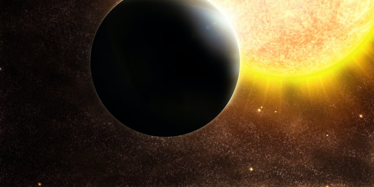 An illustration of an exoplanet around its star