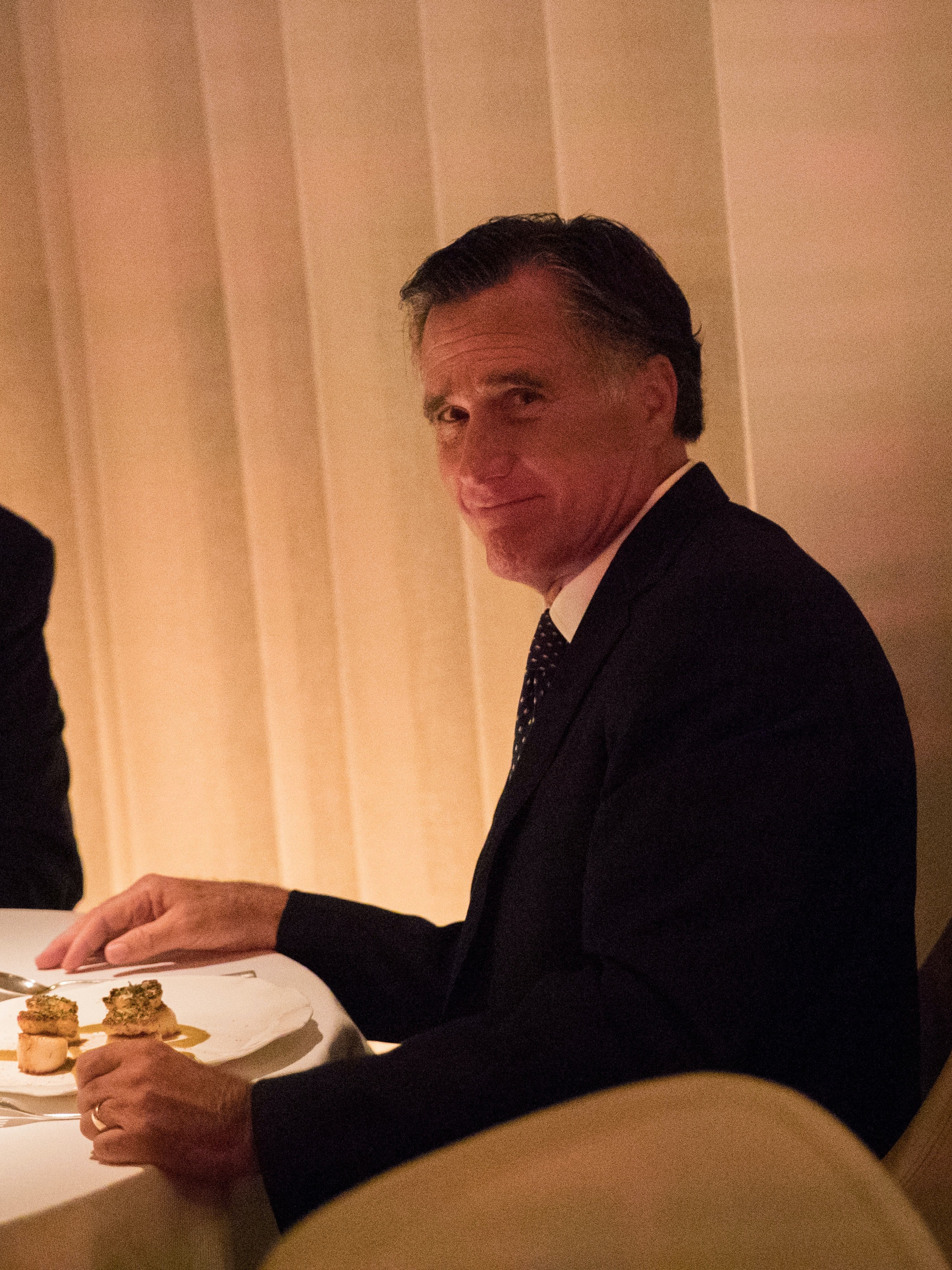 (L to R) President-elect Donald Trump and Mitt Romney dine at Jean Georges restaurant, November 29, 2016 in New York City. President-elect Donald Trump and his transition team are in the process of filling cabinet and other high level positions for the new administration.
