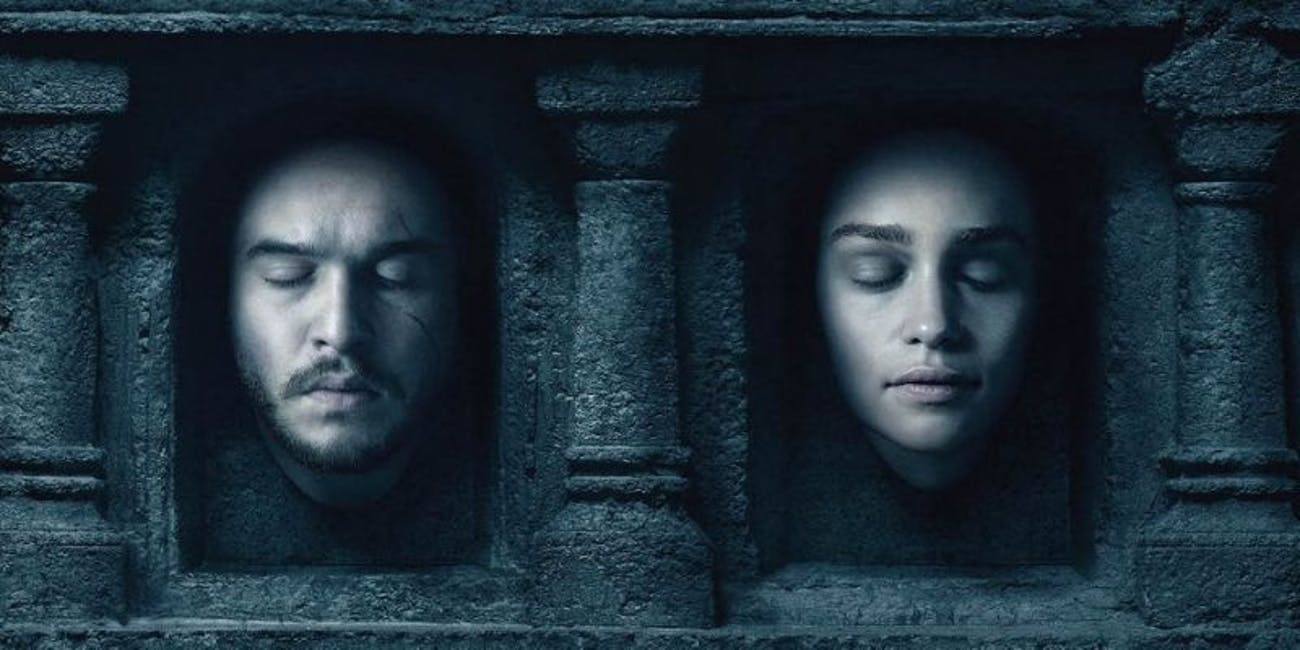 Jon and Dany on the wall of dead faces in 'Game of Thrones'.