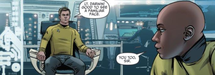 Kirk hangs out with Darwin again.