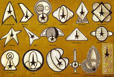 Various shipboard Starfleet insignia from the originals series.