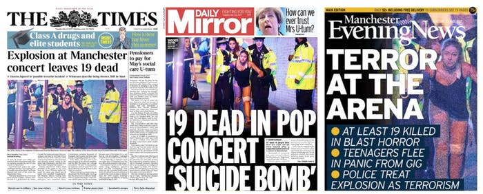 Manchester Arena Bombing Newspaper Front Pages