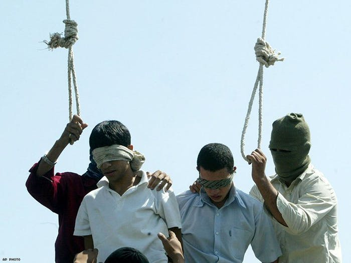 Mahmoud Asgari, 16, and Ayaz Marhoni, 18, publicly hanged in Mashhad, Iran in 2005