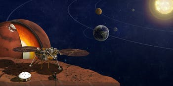 This is an artist's rendition of the InSight lander.