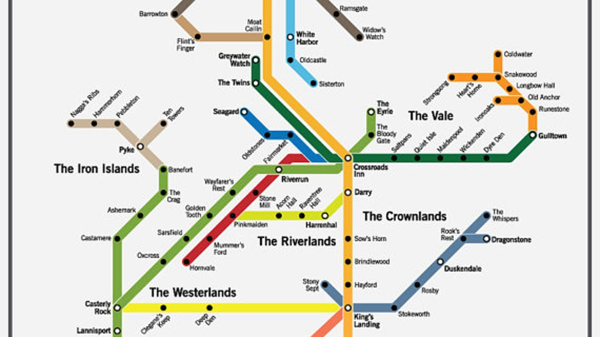 Game Of Thrones Subway Map.Game Of Thrones Westeros Subway Map It S Hectic At Winterfell