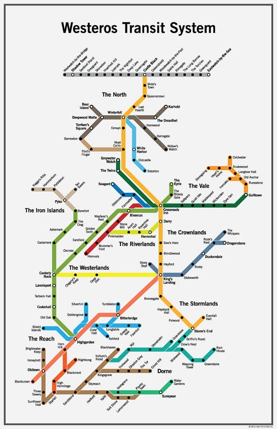 Game of Thrones Westeros Subway Map It s Hectic at Winterfell