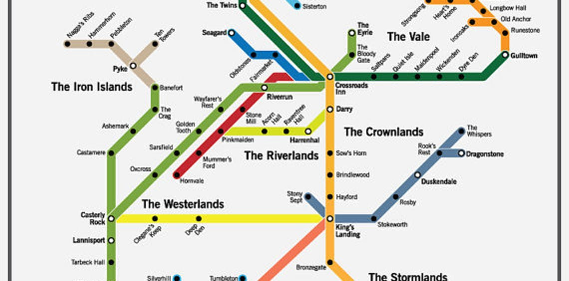 subway map Westeros Game of Thrones maps navigation fantasy