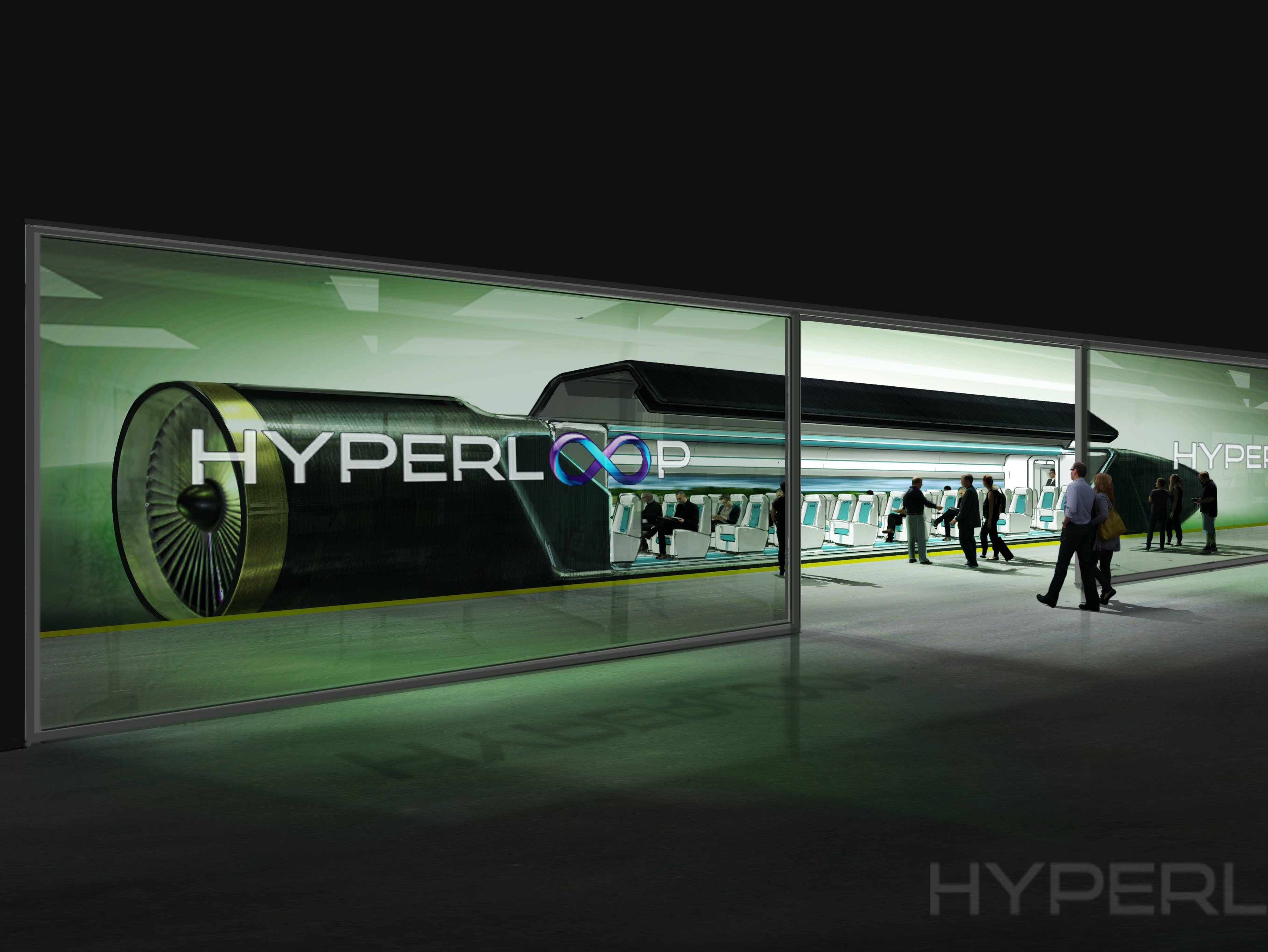 A rendering of passengers boarding a hyperloop.
