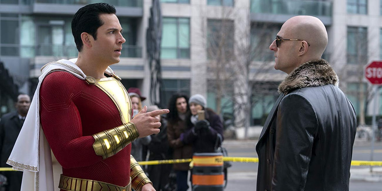 Shazam (Zachary Levi) and Dr. Sivana (Mark Strong) in 'Shazam!' (2019)