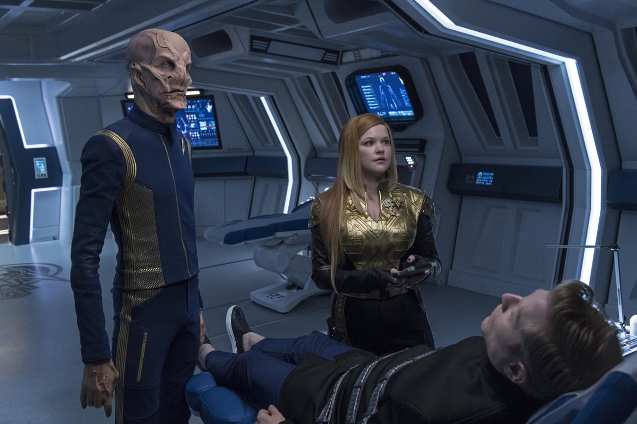 "Saru and Tilly with Stamets in the upcoming episode of 'Discovery,"" ""The Wolf Inside."""