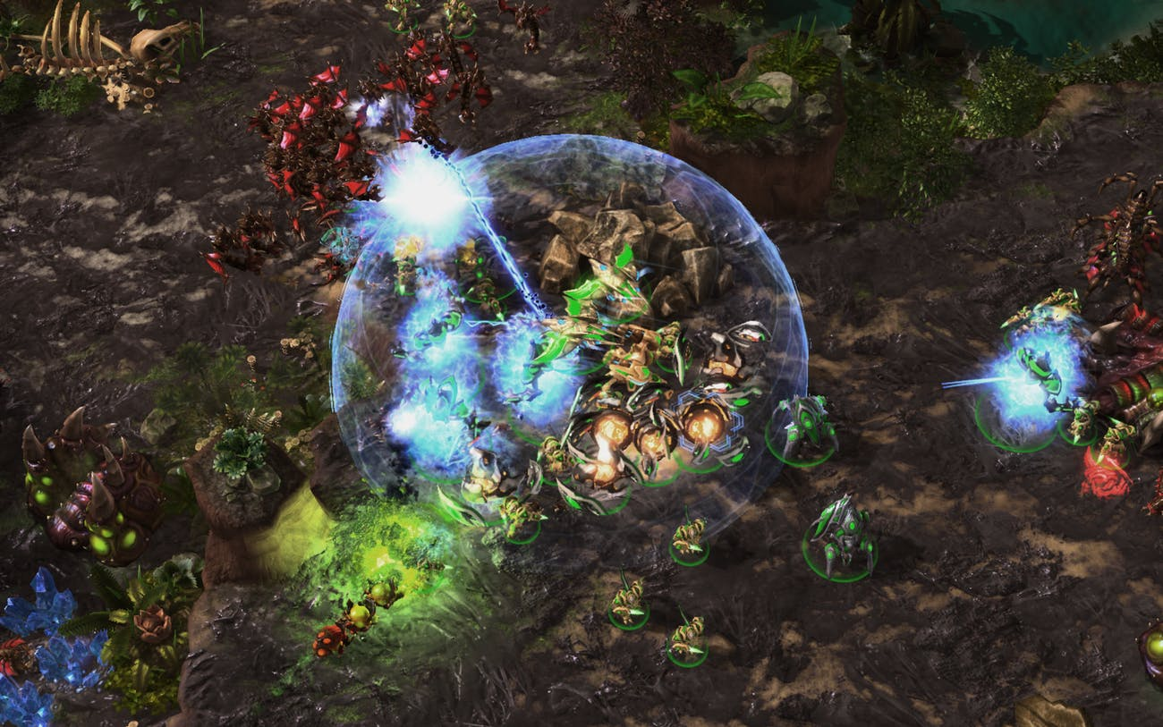 Pictured above, AlphaStar holding its own in a round of Starcraft II.