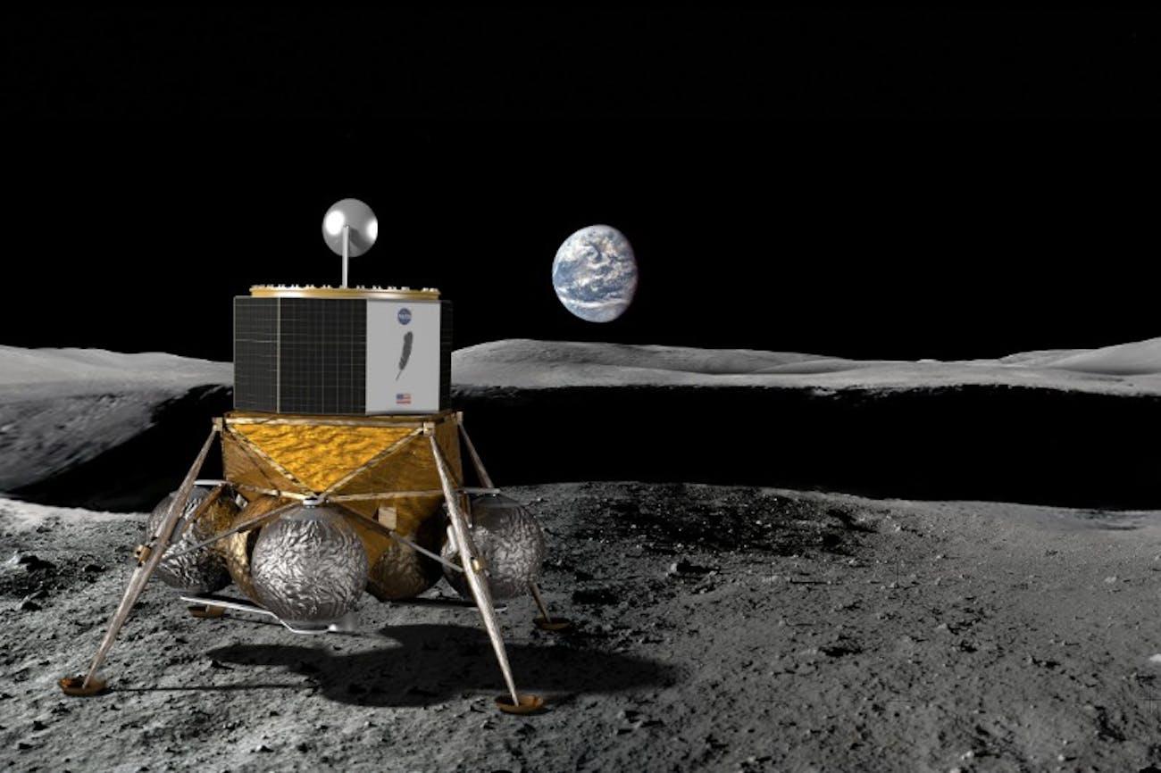 Blue Origin's Blue Moon on the moon.