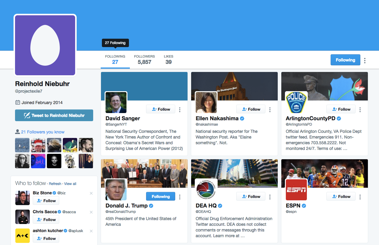 This is James Comey's twitter account, probably.
