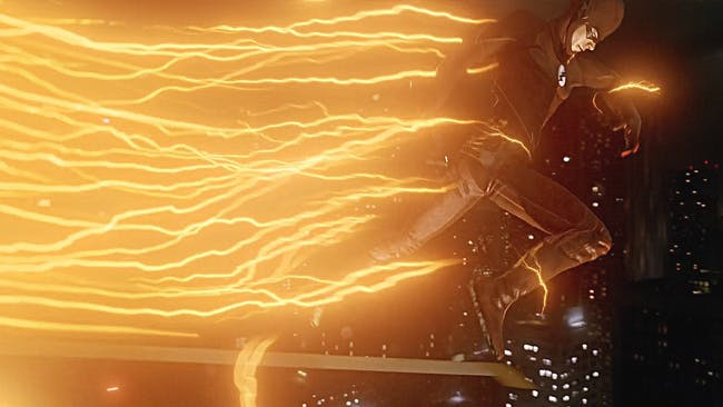 The lightning trailing behind Barry Allen's Flash when he runs is yellow.