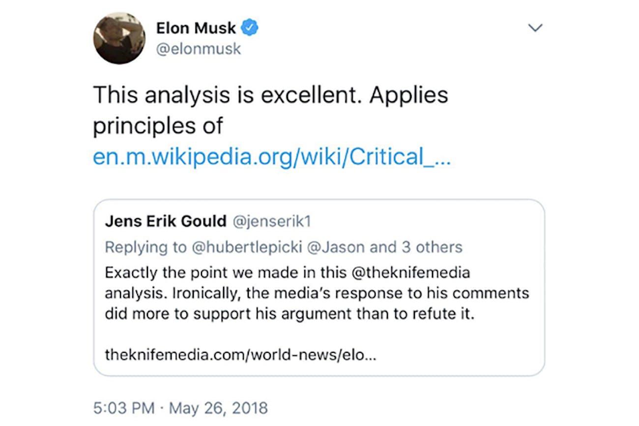 Musk's since-deleted tweet