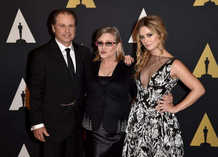 Carrie Fisher with her brother Todd and daughter Billie