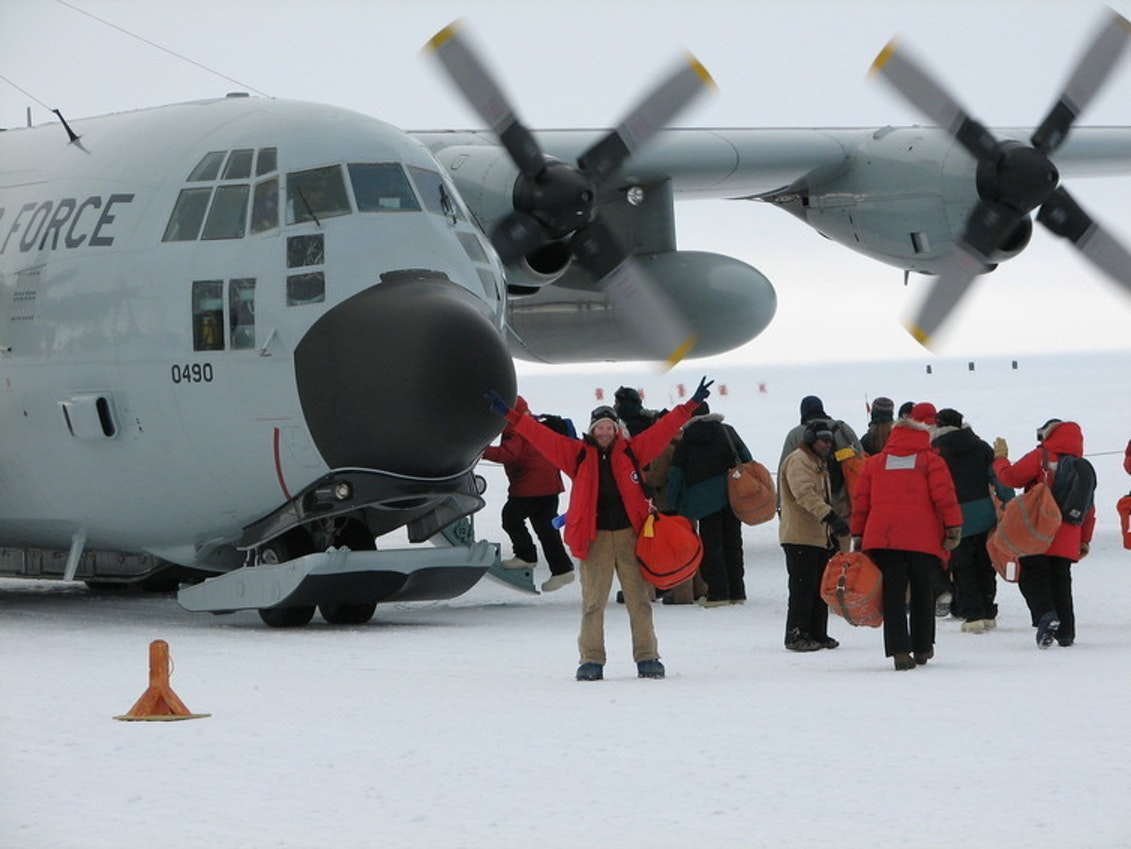 Planes need skis to land and take off at the South Pole.