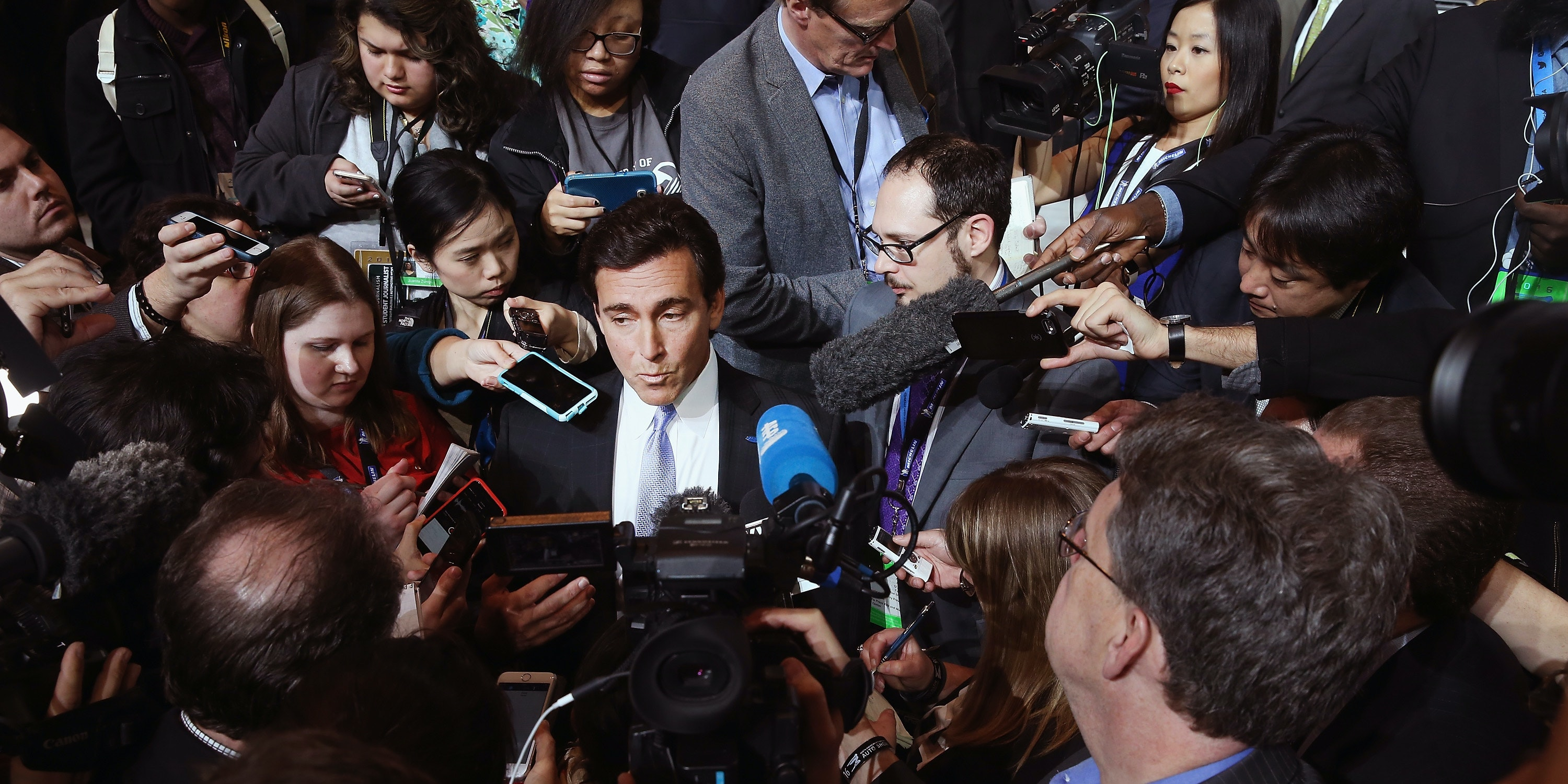 DETROIT, MI - JANUARY 11: Mark Fields, President and CEO of Ford Motor Company, speaks to reporters after the introduction of the 2017 Fusion and new F150 Raptor at the North American International Auto Show on January 11, 2016 in Detroit, Michigan. The show is open to the public from January 16-24.  (Photo by Scott Olson/Getty Images)