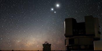 The moon, Jupiter and Venus.