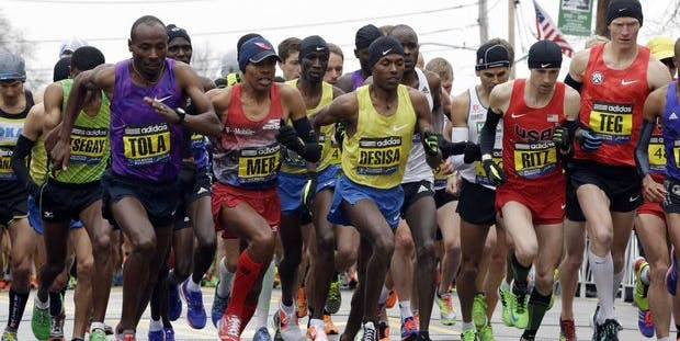 Few runners were seen without a smartwatch at the starting line of this year's Boston Marathon.