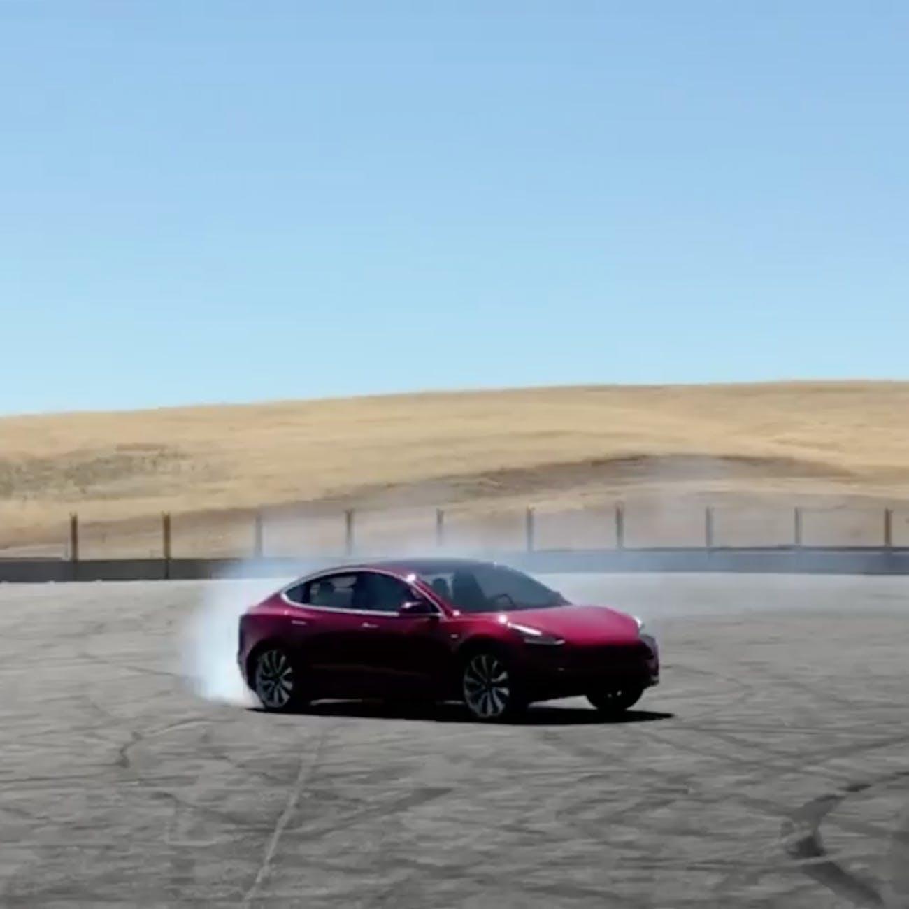 Tesla Model 3 performance edition skidding