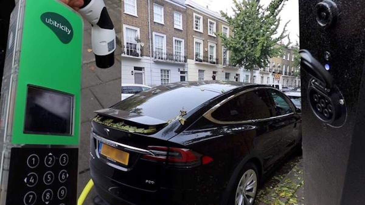 tesla car charging ubitricity