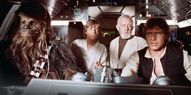 Seeing Han and Chewie in the 'Millennium Falcon' cockpit for the very first time of their lives is incredible.