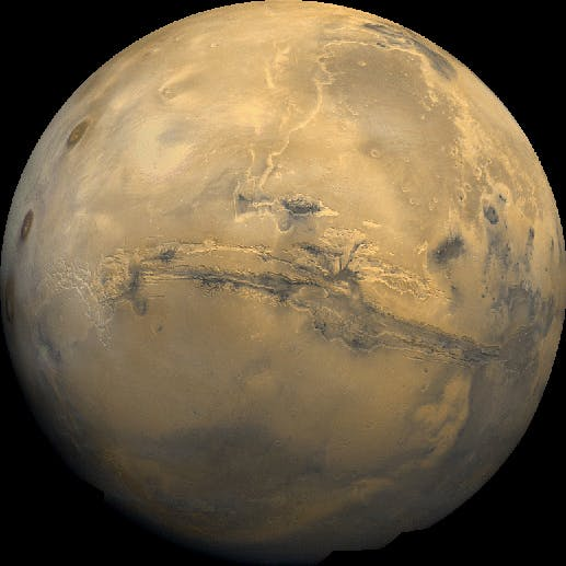 The Valles Marineris canyon system takes up 20 percent of the surface of Mars.