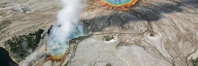 Aerial view of Excelsior Geyser and Grand Prismatic Spring