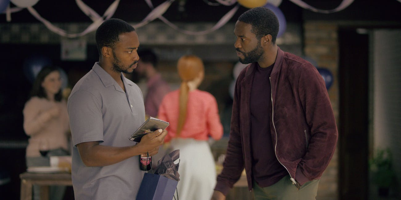 "Anthony Mackie and Yahya Abdul Mateen II in ""Striking Vipers"" on 'Black Mirror' Season 5"