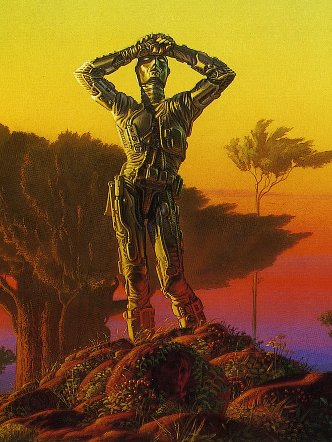 The cover of Asimov's 'Robots of Dawn'